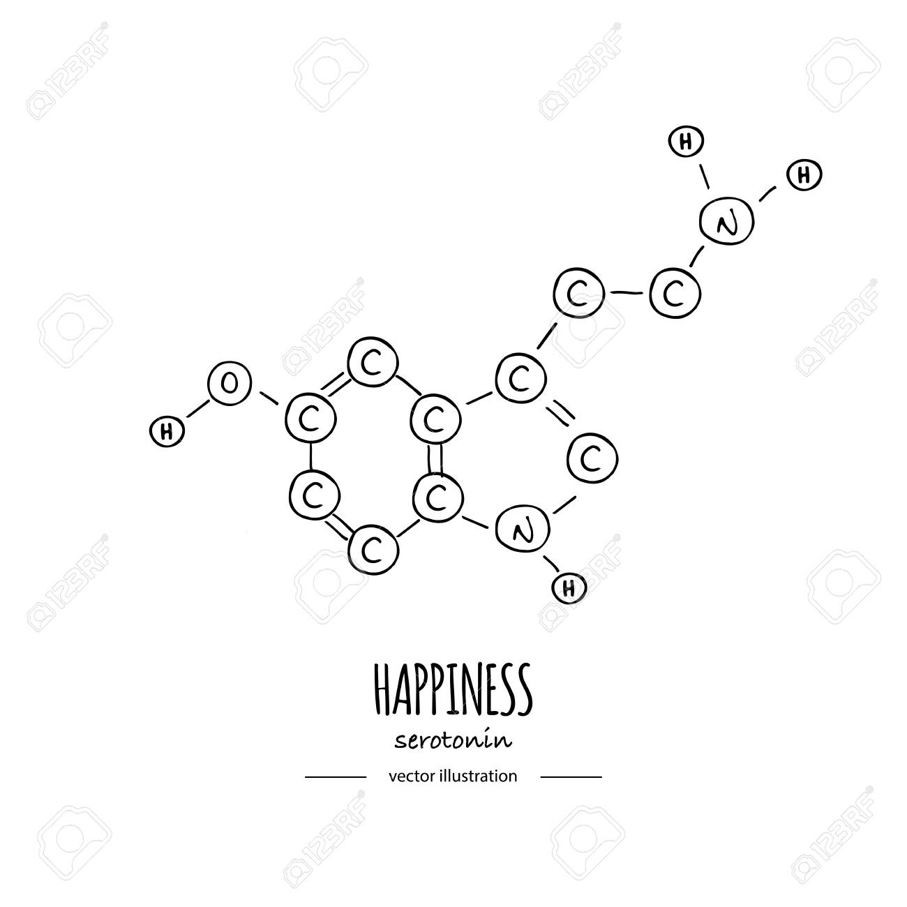 Hand drawn doodle Serotonin chemical formula icon Vector illustration Cartoon molecule Sketch happiness symbol molecular structure Structural scientific hormone formula isolated on white background - 124798764