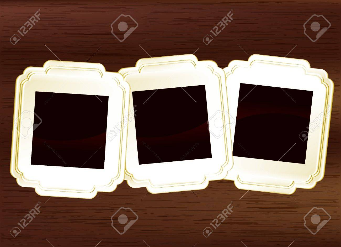 Picture Frame Set On Dark Wood Royalty Free Cliparts Vectors And
