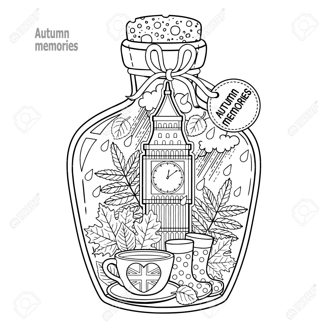 Coloring book for adults. A glass vessel with autumn memories of dreams about a trip to London. A bottle with rain, boots, leaves, a cup of tea, big ben tower london, Victoria Tower - 142159191