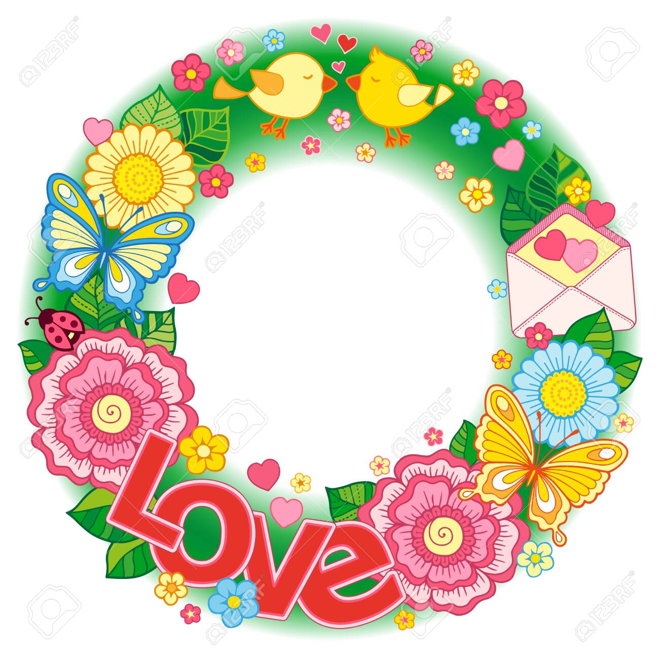 Valentine's Day card. Wedding invitetion. Round shape made of Abstract flowers, butterflies, birds kissing and the word love. - 142159826