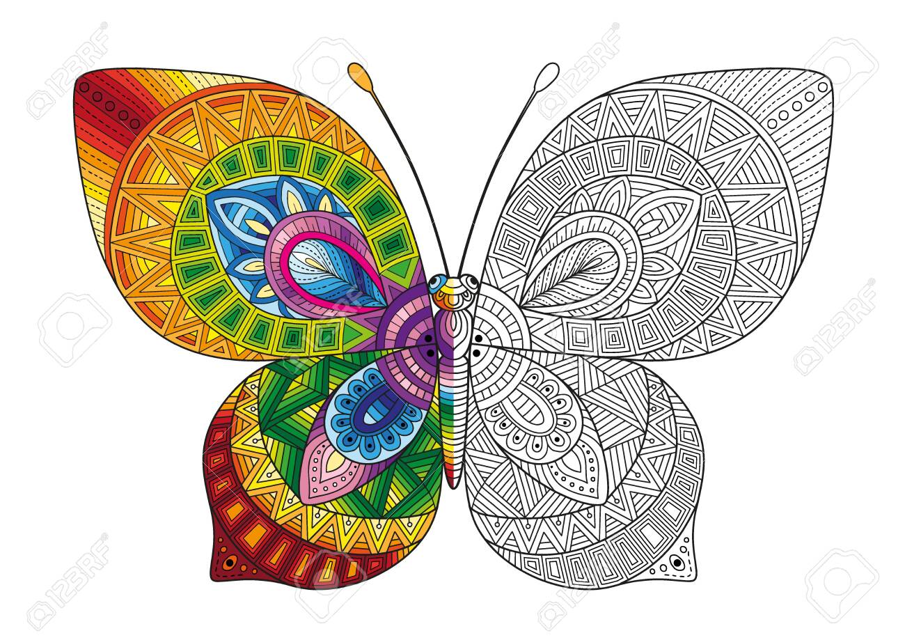 Vector black and white image of a butterfly on white background. Hand drawn butterfly zentangle style for t-shirt design or tattoo. - 143297778