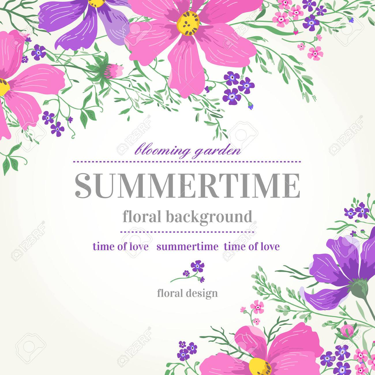 Vector Wedding Invitation With Pink And Purple Flowers On A White ...