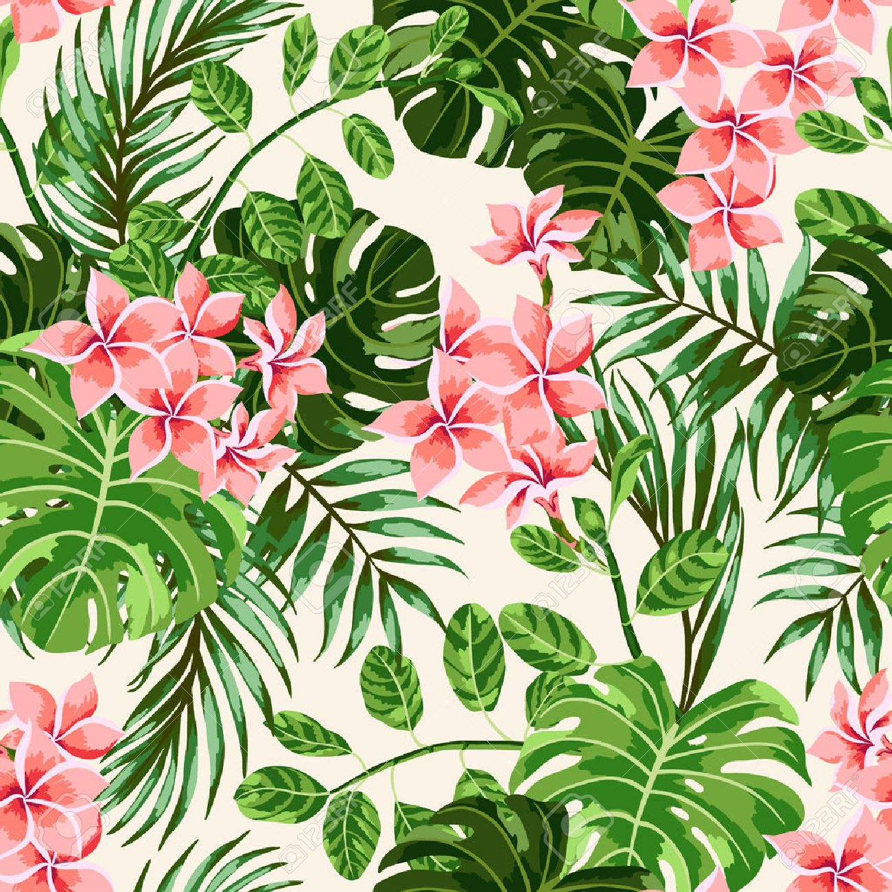 Seamless Exotic Pattern With Tropical Leaves And Flowers Vector Royalty Free Cliparts Vectors And Stock Illustration Image 39756421 Alibaba.com offers 1,211 tropical flower products. seamless exotic pattern with tropical leaves and flowers vector