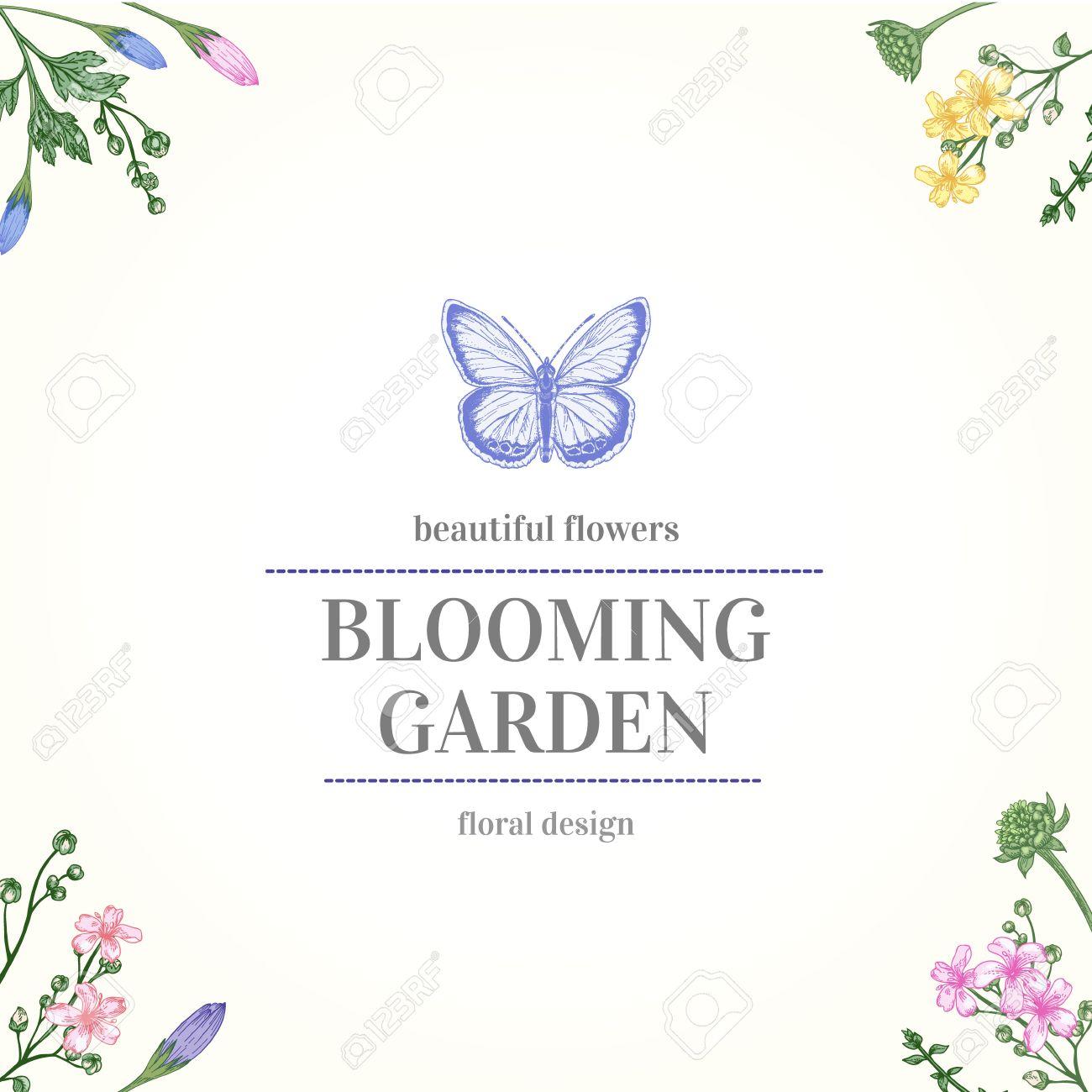 Marco Con Las Flores Del Jardín Y Mariposas En Colores Pastel En Un ...