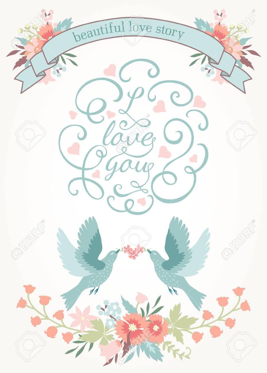 花、愛の鳥、リボンでかわいい結婚式招待状