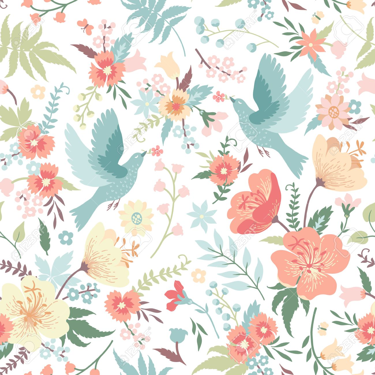 Fantastic Cute Seamless Pattern With Birds And Flowers In Pastel Colors  ZW47
