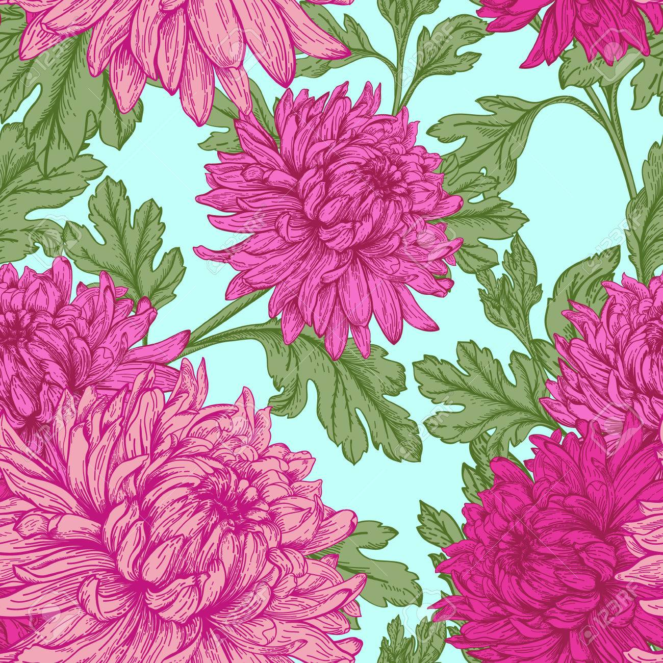 Pink floral seamless vector background floral hrysanthemum seamless - Vintage Seamless Floral Pattern With Flowers Chrysanthemum Vector Illustration Stock Vector 39922645