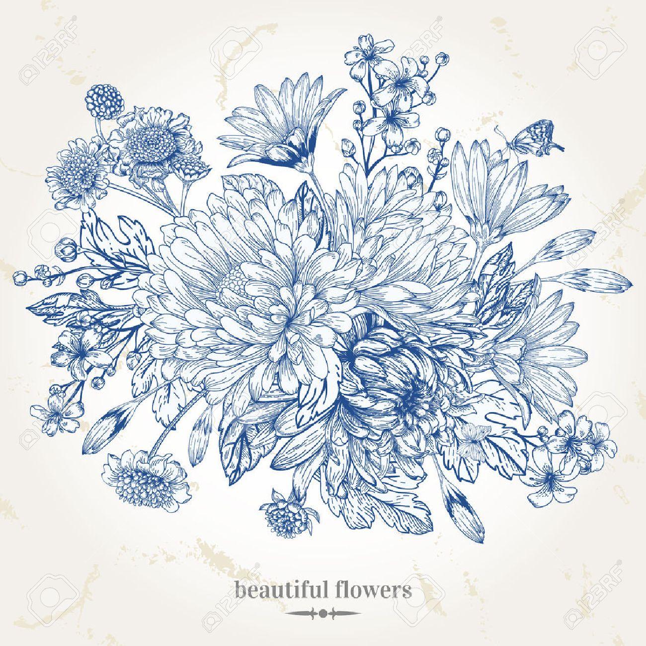 Banque dimages , Main,dessin carte vintage avec un bouquet de fleurs bleues