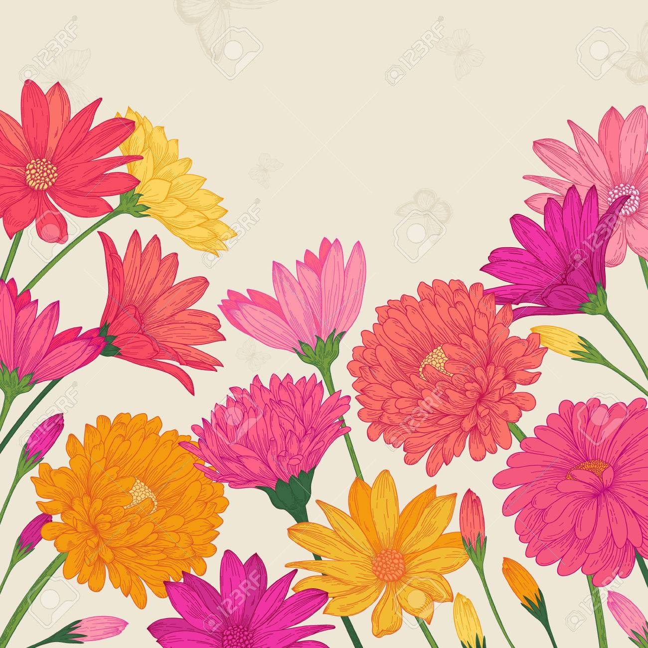 Summer Card With Colorful Flowers Asters And Daisies In Vintage ...