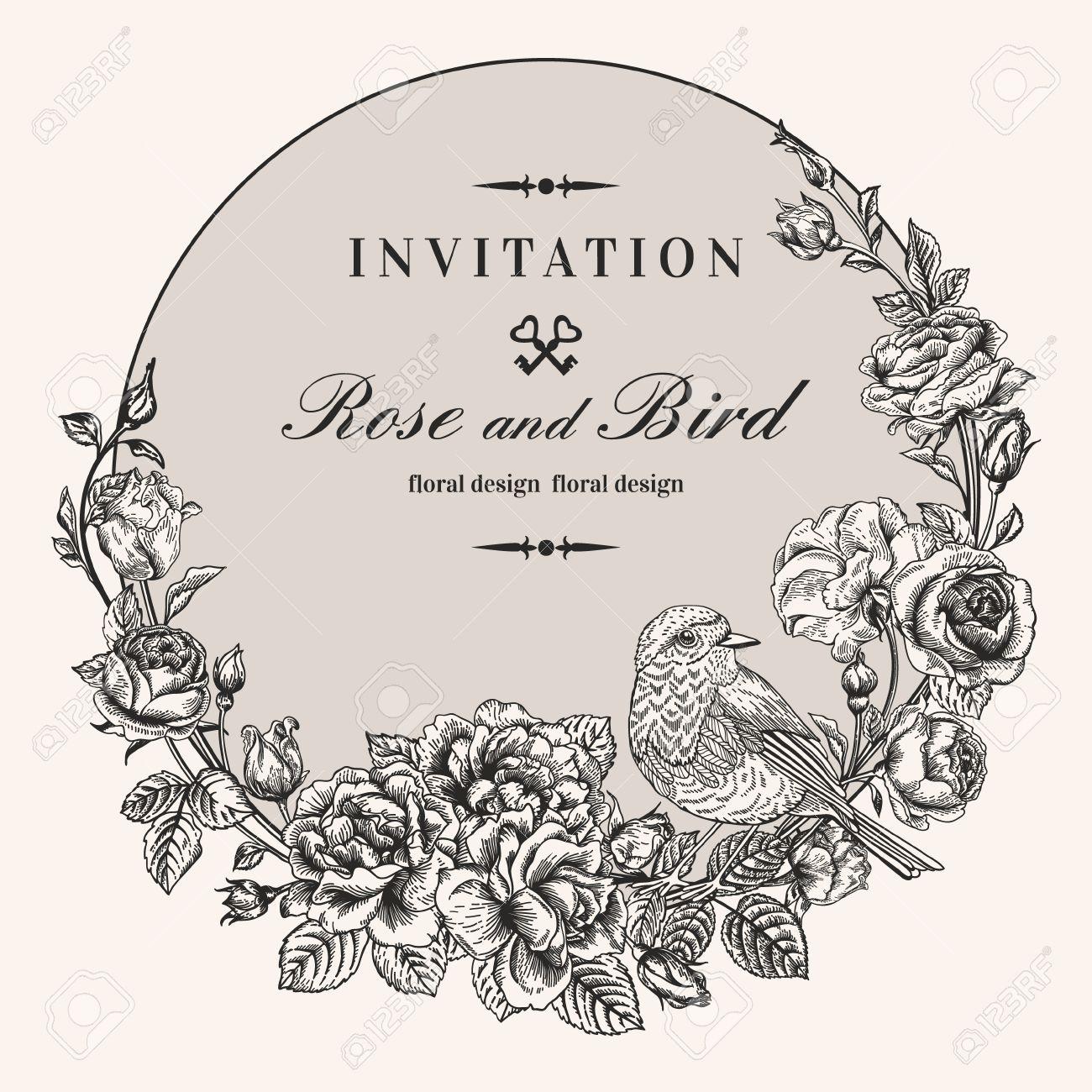 Vektor Jahrgang Runden Rahmen Mit Vögeln Und Rosen. Blumenkranz ...