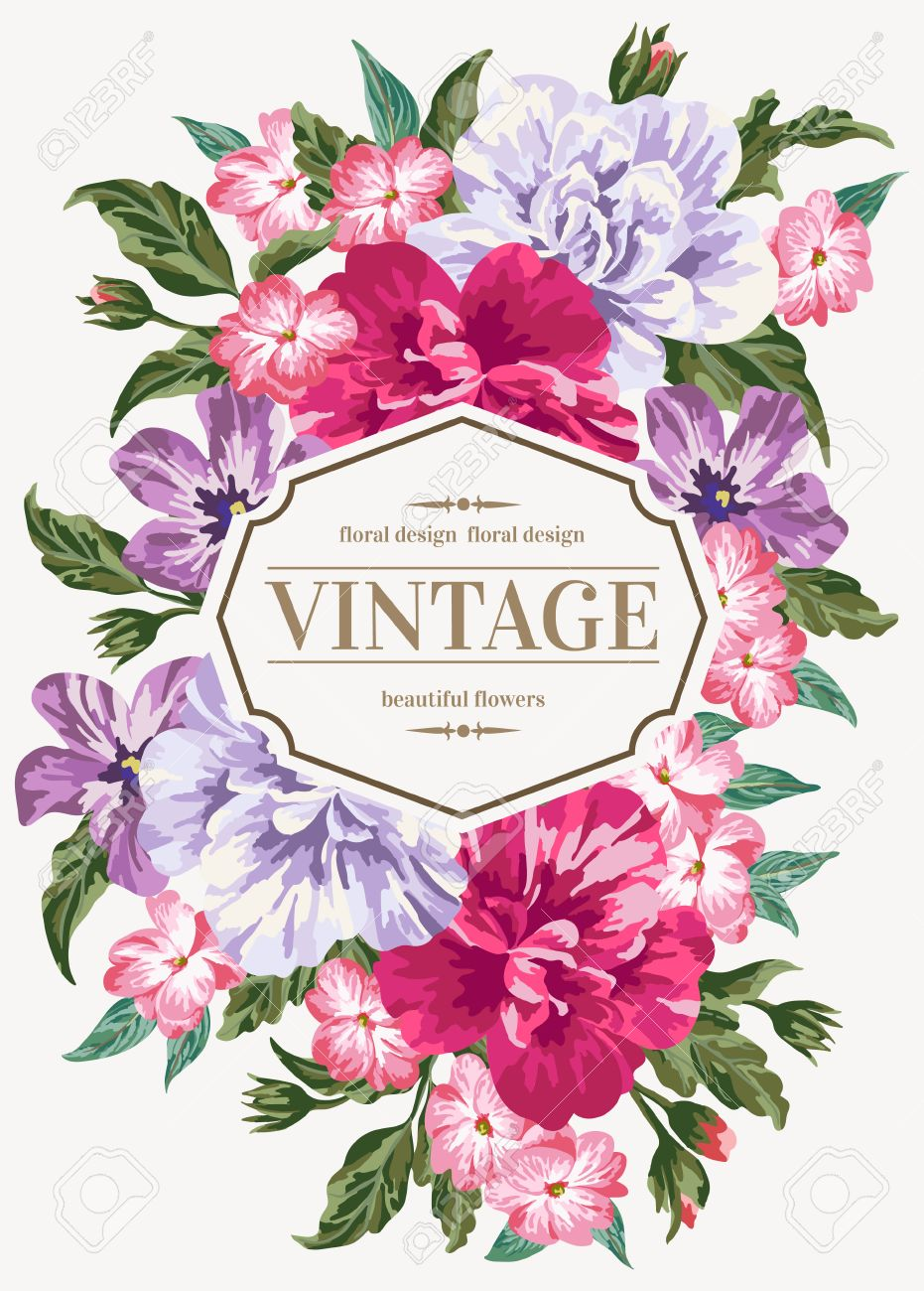 Vintage wedding invitation with colorful flowers. Vector illustration.