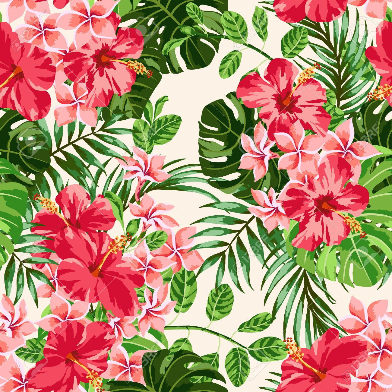Seamless Exotic Pattern With Tropical Leaves And Flowers On A