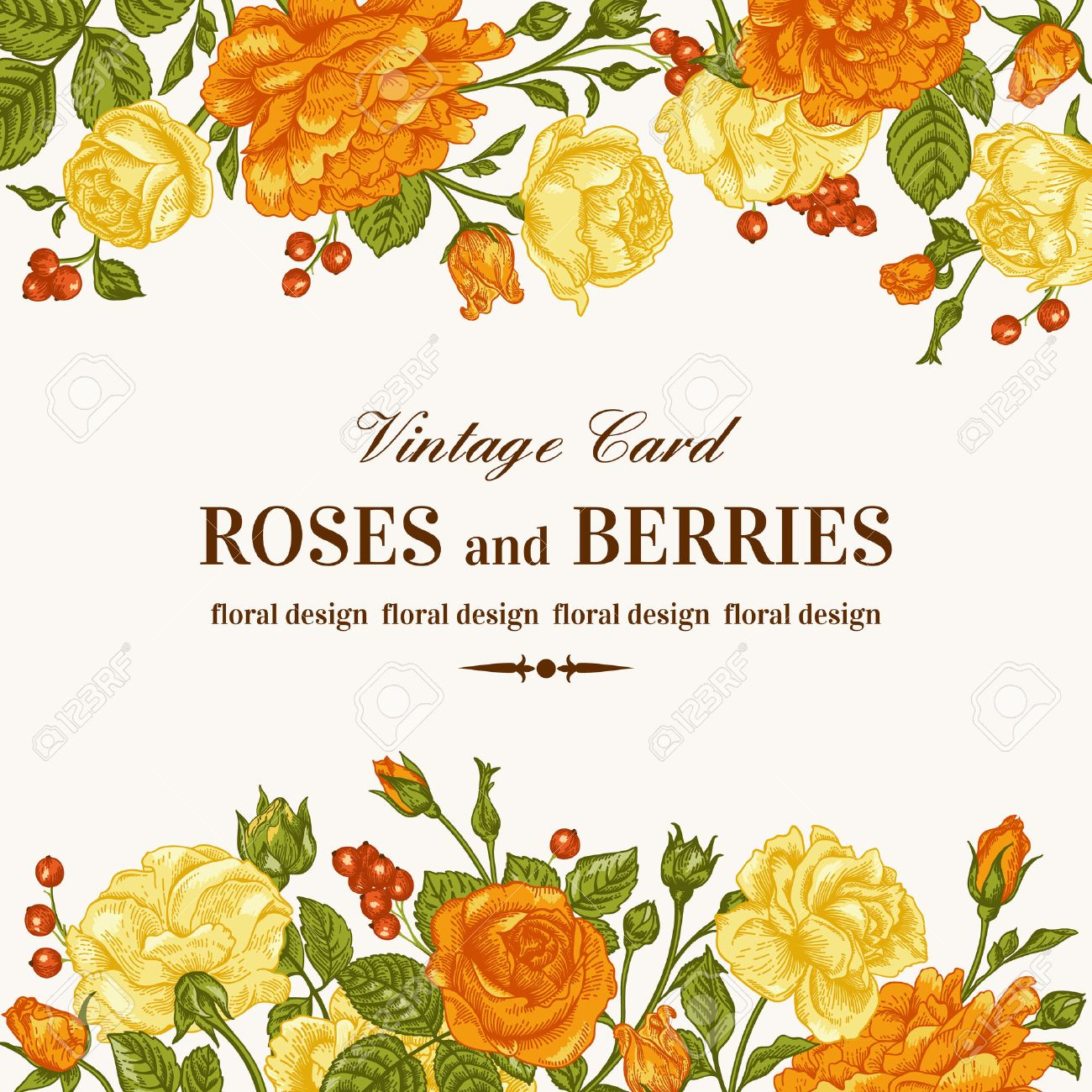 Vintage wedding invitation with orange and yellow roses on a white imagens vintage wedding invitation with orange and yellow roses on a white background vector illustration stopboris Image collections