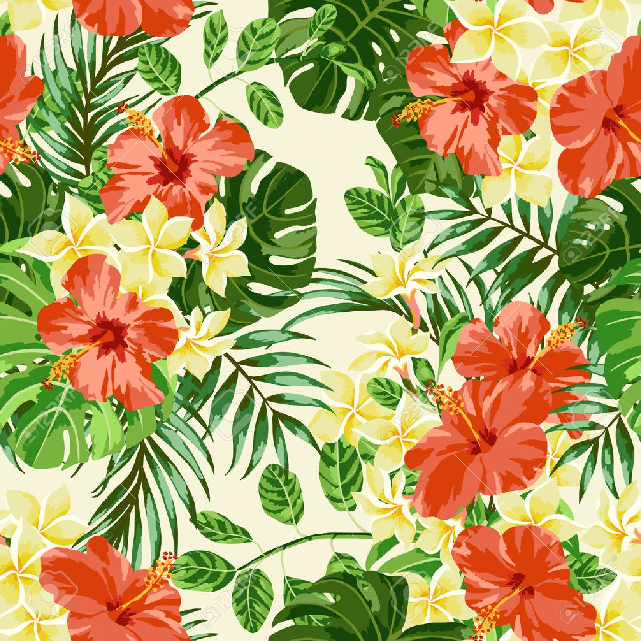 Seamless exotic pattern with tropical leaves and flowers plumeria seamless exotic pattern with tropical leaves and flowers plumeria hibiscus monstera palm izmirmasajfo