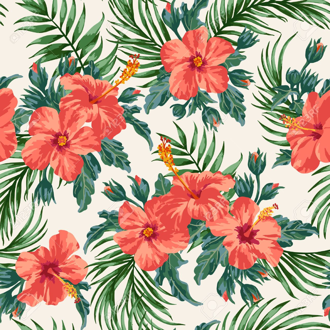 Seamless Exotic Pattern With Tropical Leaves And Flowers On A White Background Hibiscus Palm