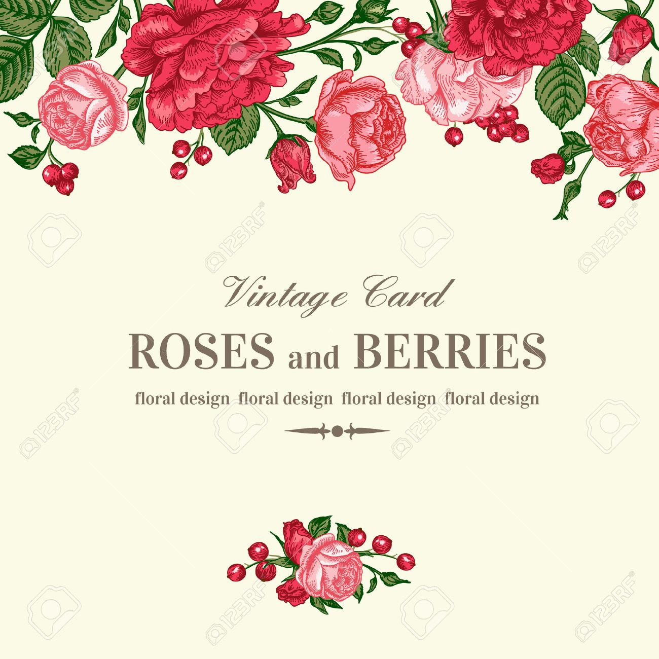Vintage Wedding Invitation With Pink And Red Roses On A Light – Red Rose Wedding Invitation