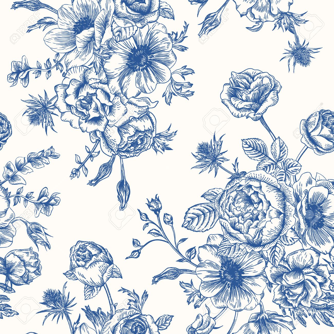 Seamless floral pattern with bouquet of blue flowers on a white seamless floral pattern with bouquet of blue flowers on a white background roses anemones eustoma dhlflorist Gallery