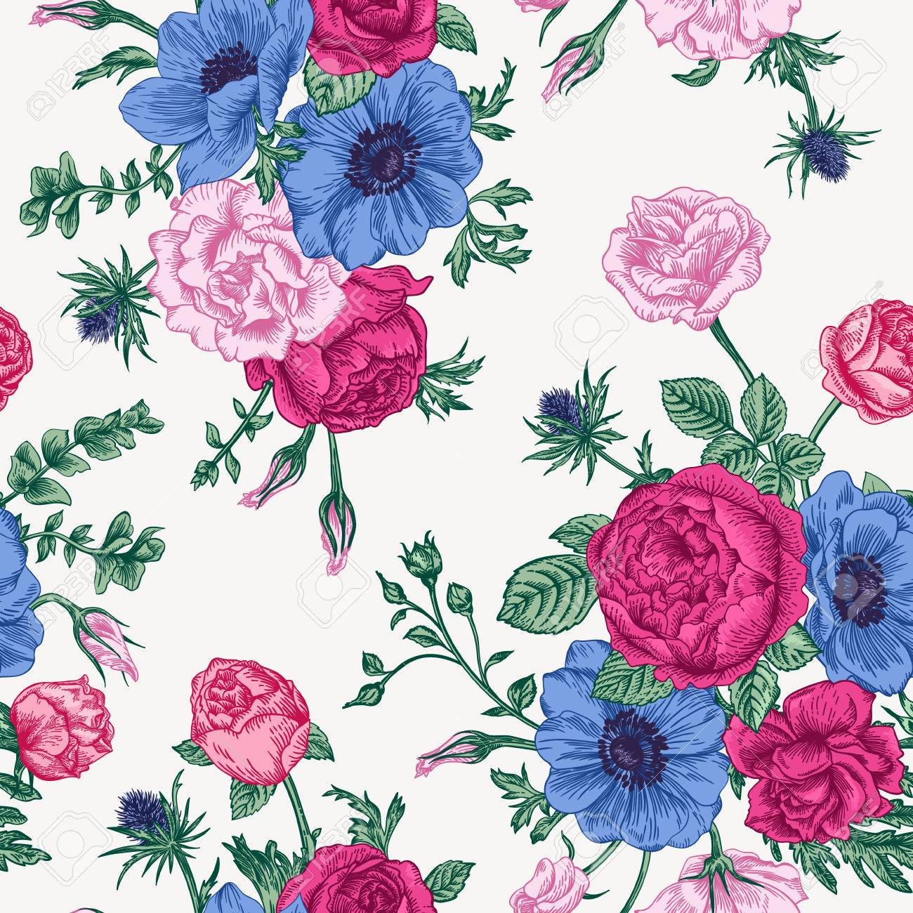 Seamless Floral Pattern With Bouquet Of Colorful Flowers On A