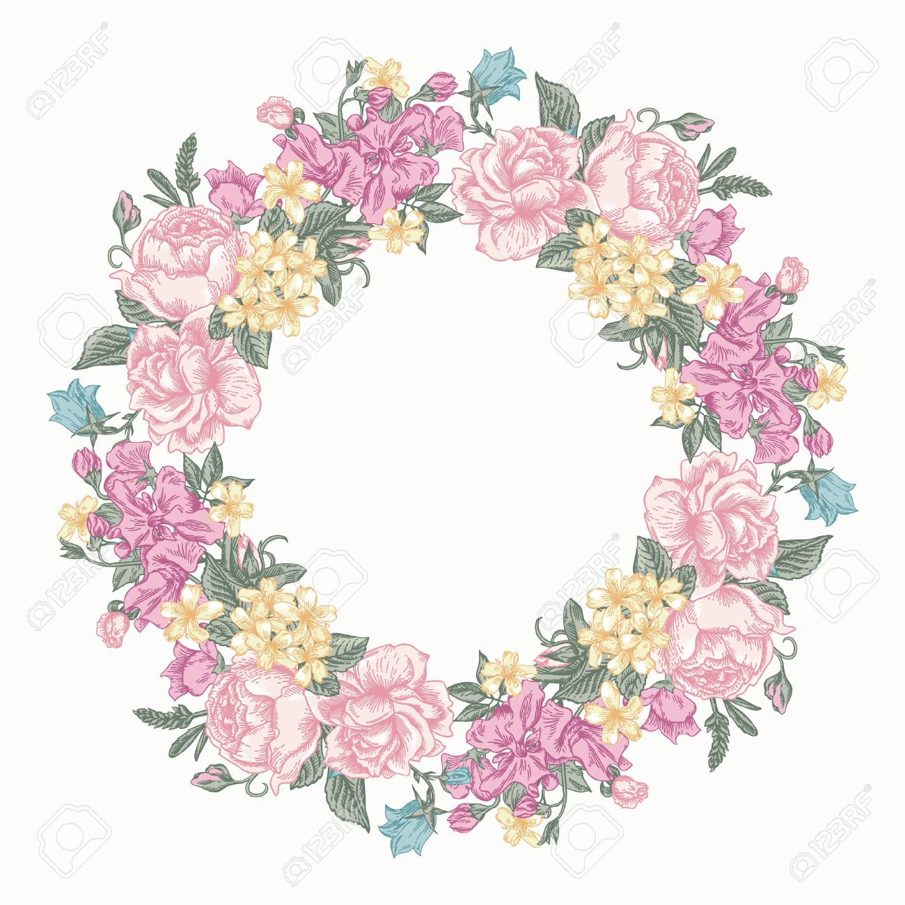 Invitation card with floral round wreath in pastel colors colors invitation card with floral round wreath in pastel colors colors roses decorative peas stopboris Images