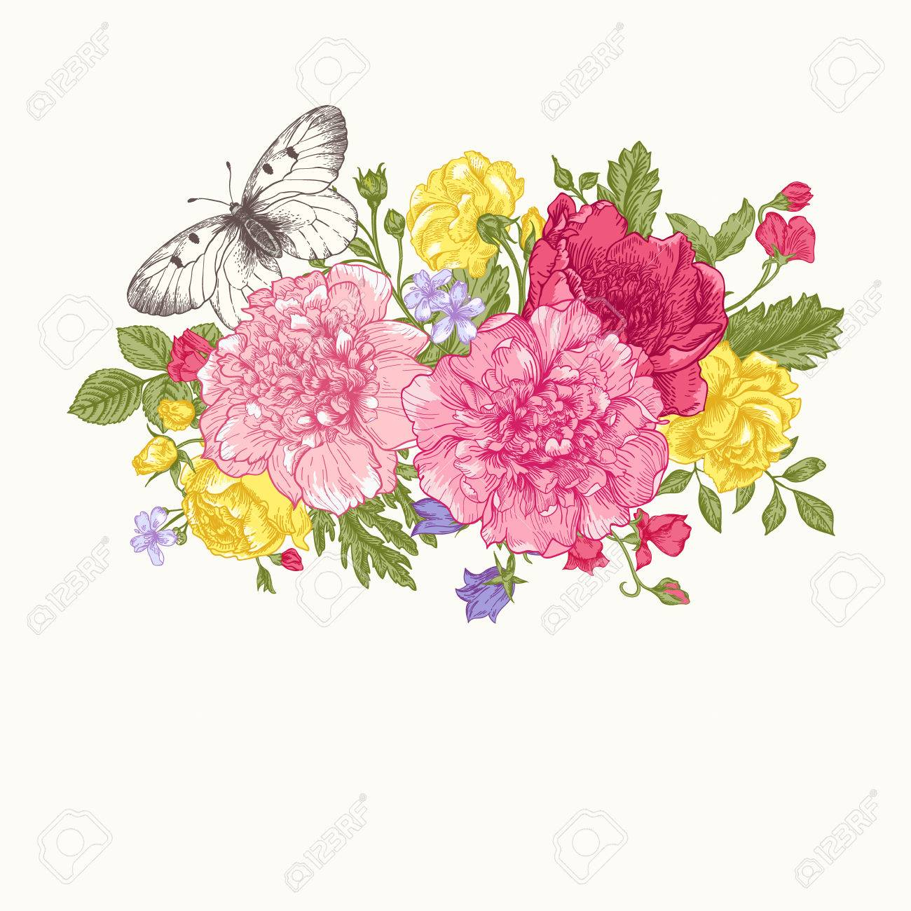 Floral Background. Card With A Bouquet Of Flowers And A Butterfly. Peonies,  Roses