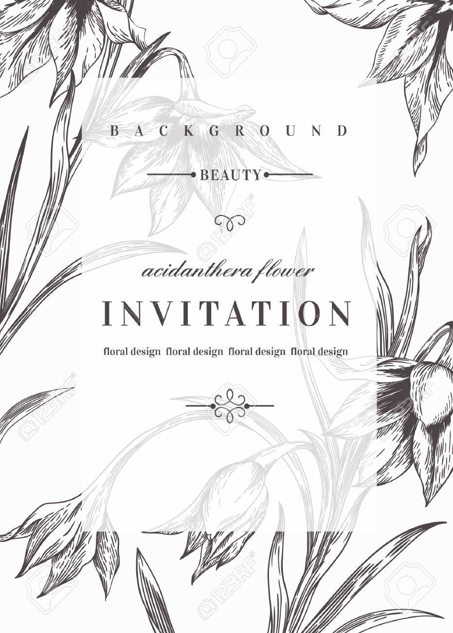 wedding invitation template with flowers black and white