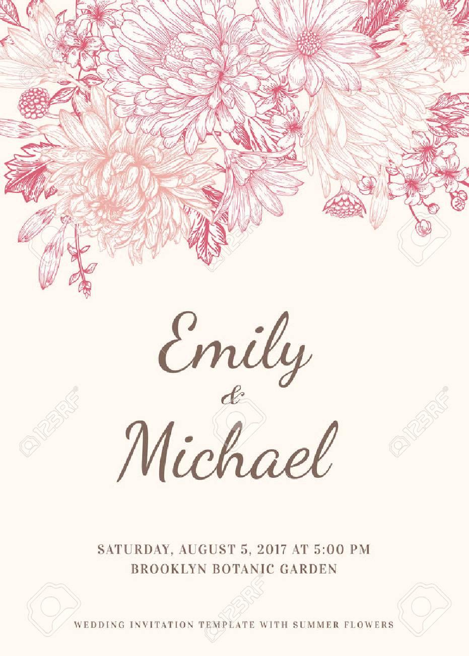 Floral Wedding Invitation In Vintage Style. Chrysanthemums Asters ...