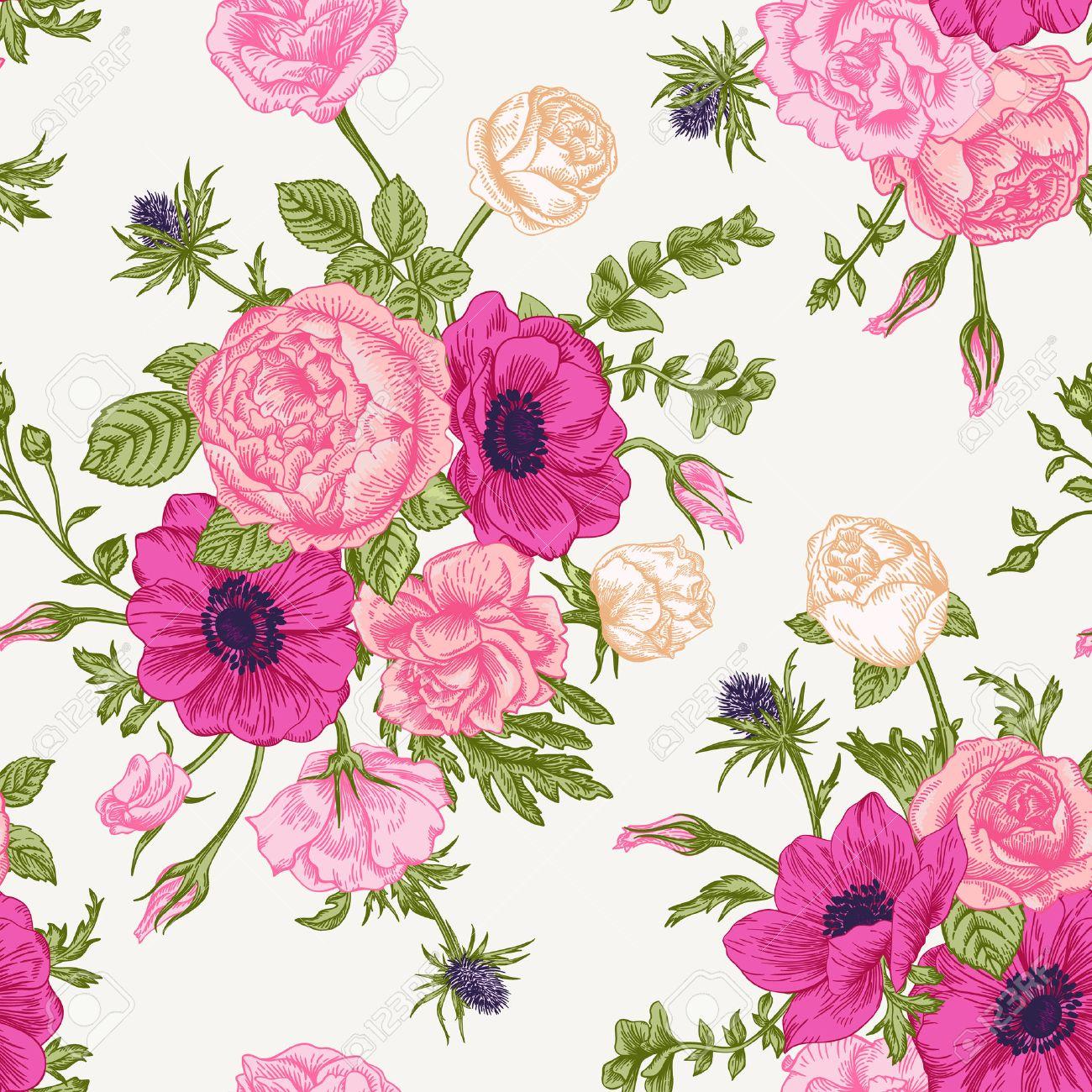 Patron Floral Transparente Con El Ramo De Flores De Colores Sobre Un