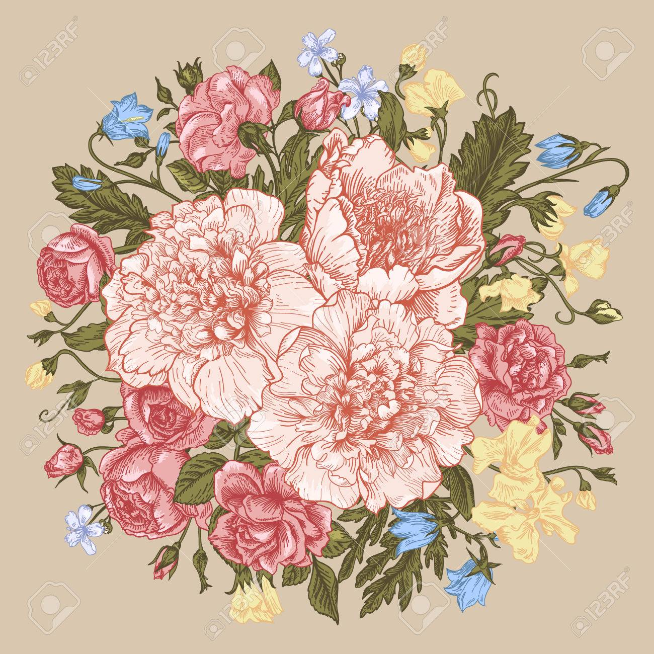 Vintage Background With A Round Bouquet Of Summer Flowers In Pastel