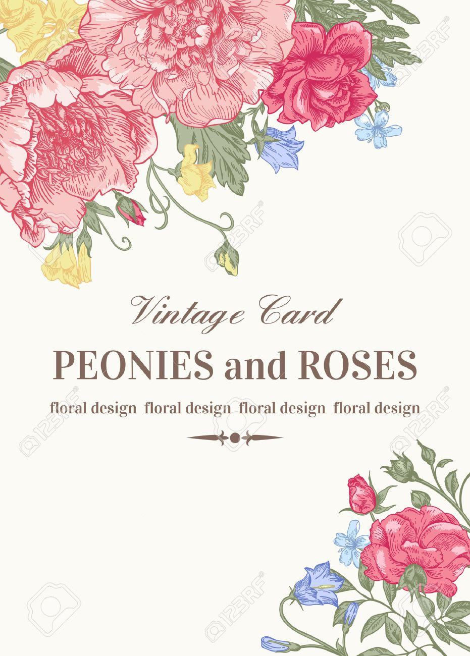 Wedding card with roses and peonies in pastel colors on a white background. Stock Vector - 40447778