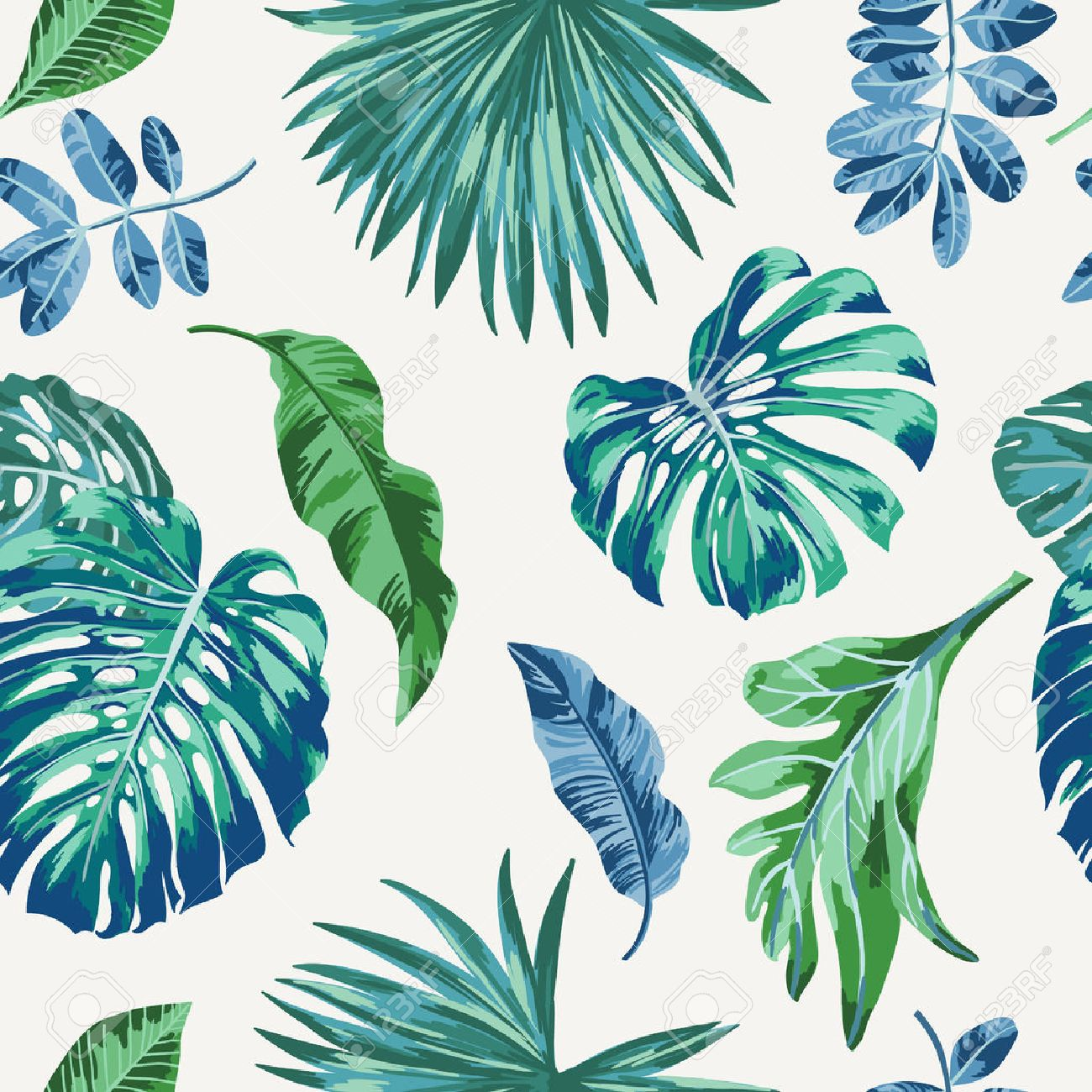 Seamless exotic pattern with tropical leaves . Vector illustration. - 56799867