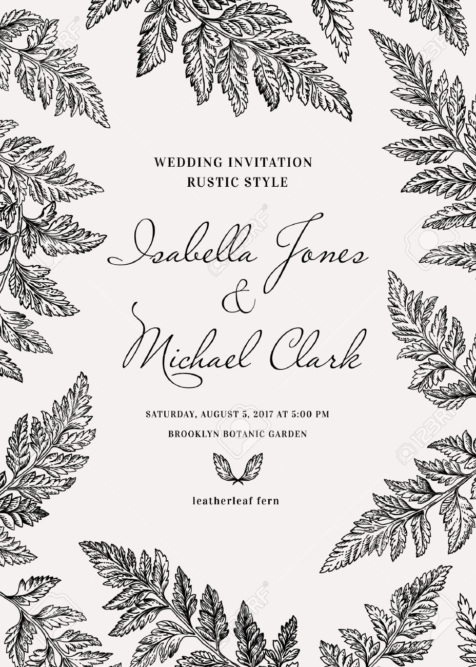 Vintage wedding invitation in a rustic style leatherleaf fern vector vintage wedding invitation in a rustic style leatherleaf fern botanical vector illustration black and white stopboris Image collections