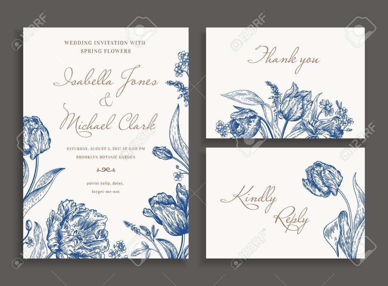 Vintage Hochzeit Set Mit Fruhlingsblumen In Blau Einladung Zur