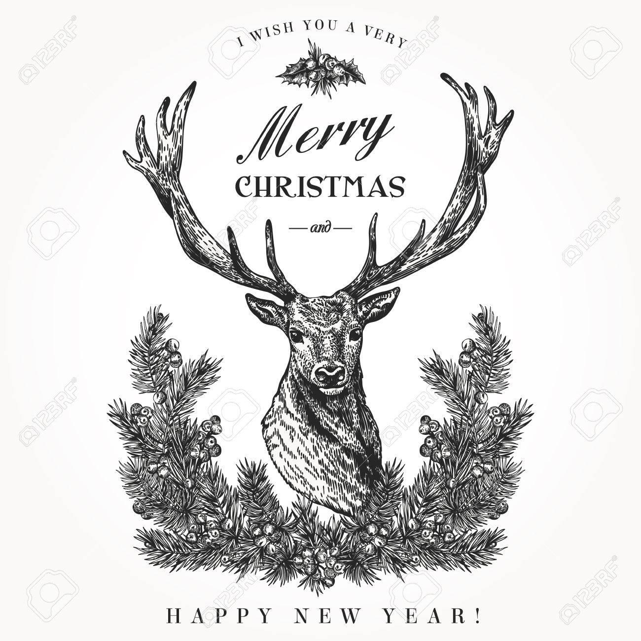 Vintage Christmas Card Deer And Pine Wreath Merry