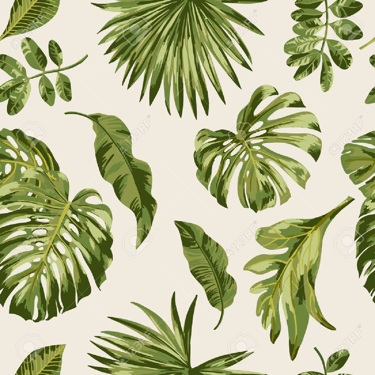 Seamless Exotic Pattern With Tropical Leaves On A White Background Royalty Free Cliparts Vectors And Stock Illustration Image 56800082 Use this customizable tropical happiness zoom virtual background template and find more professional designs from canva. seamless exotic pattern with tropical leaves on a white background
