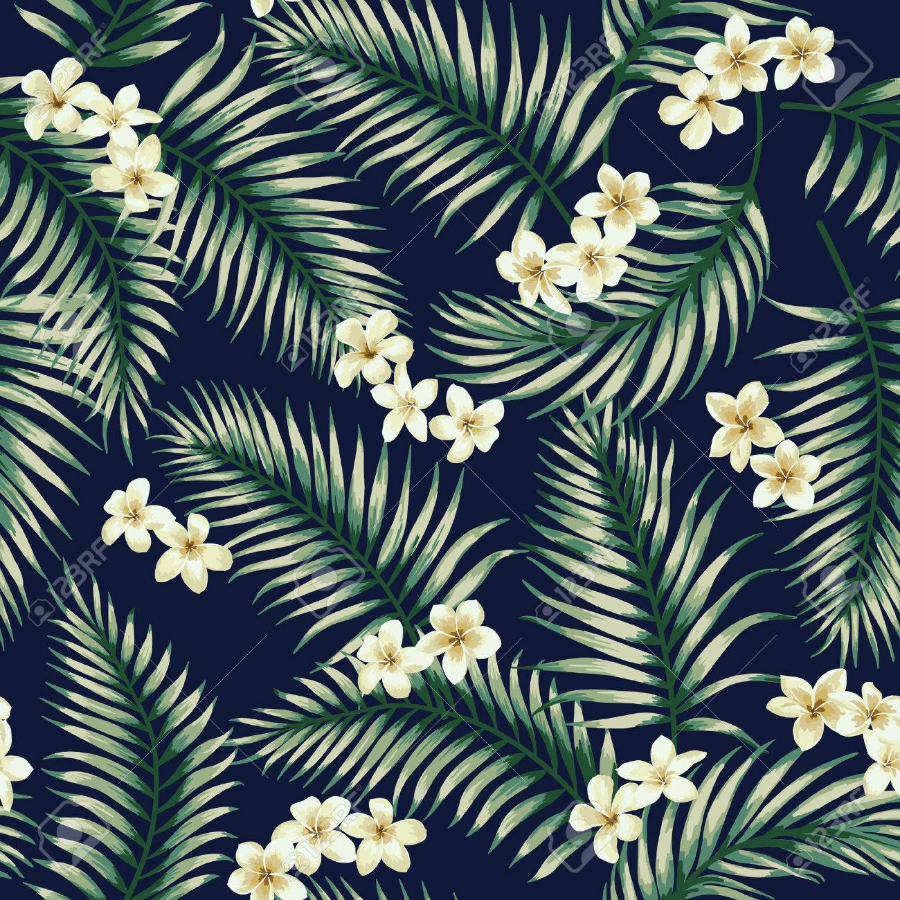 Seamless exotic pattern with tropical leaves and flowers. Vector illustration. - 56800092