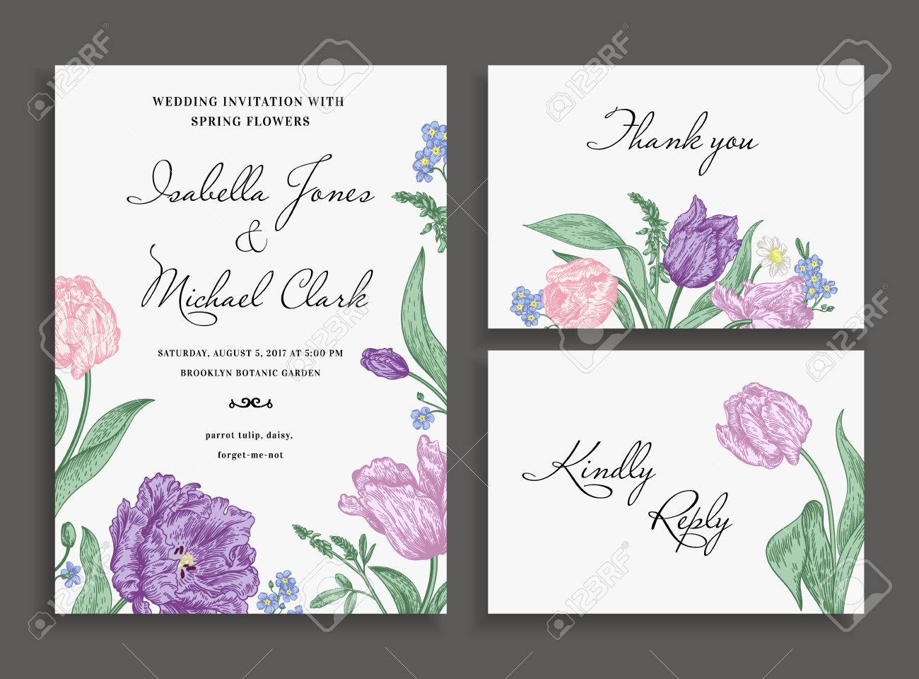 Vintage Wedding Set With Spring Flowers. Wedding Invitation ...