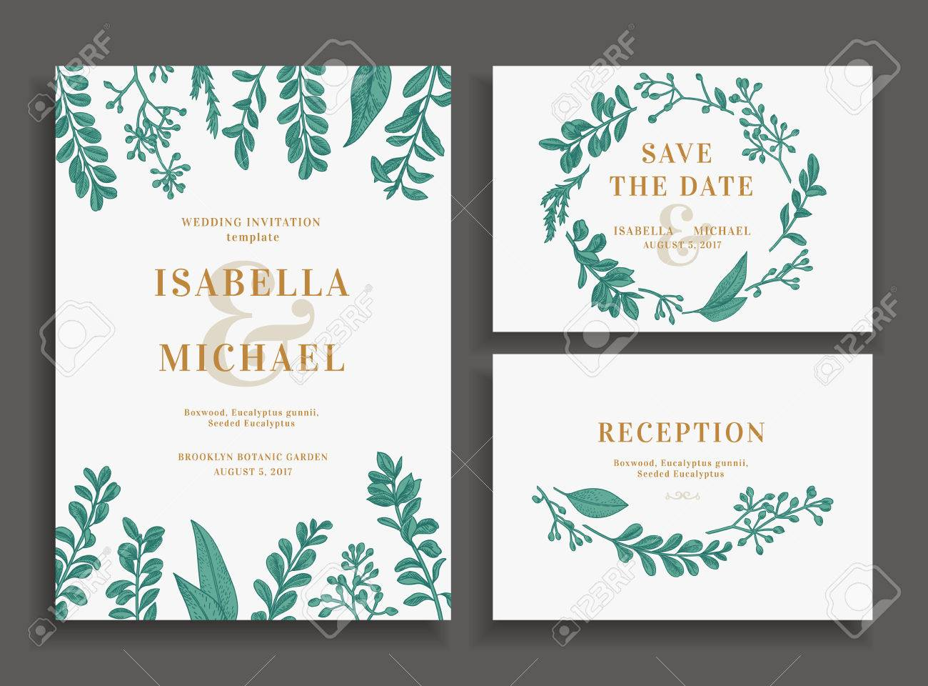 Vintage Wedding Set With Greenery Wedding Invitation Save The