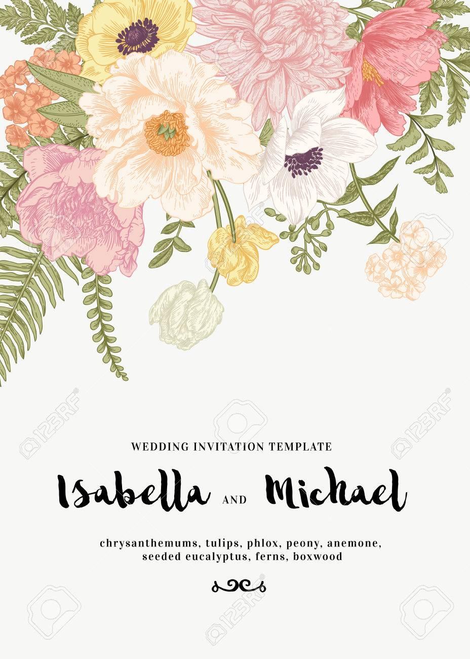 Elegant wedding invitation with summer flowers in vintage style. Chrysanthemums, tulips, phlox, peony, anemone, ferns. Pastel colors. - 63418914
