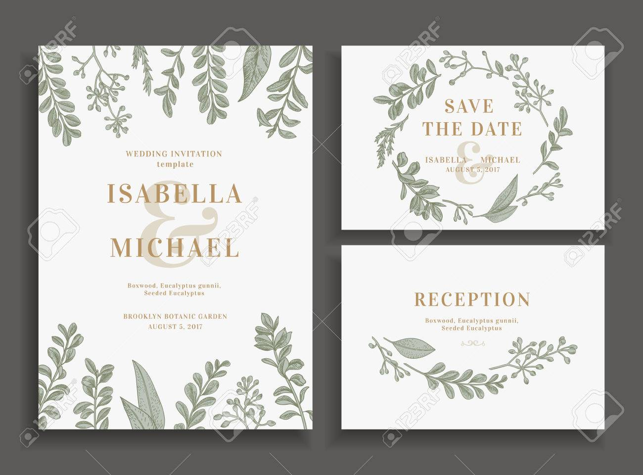 Vintage wedding set with greenery. Wedding invitation, save the date, reception card. - 63418912