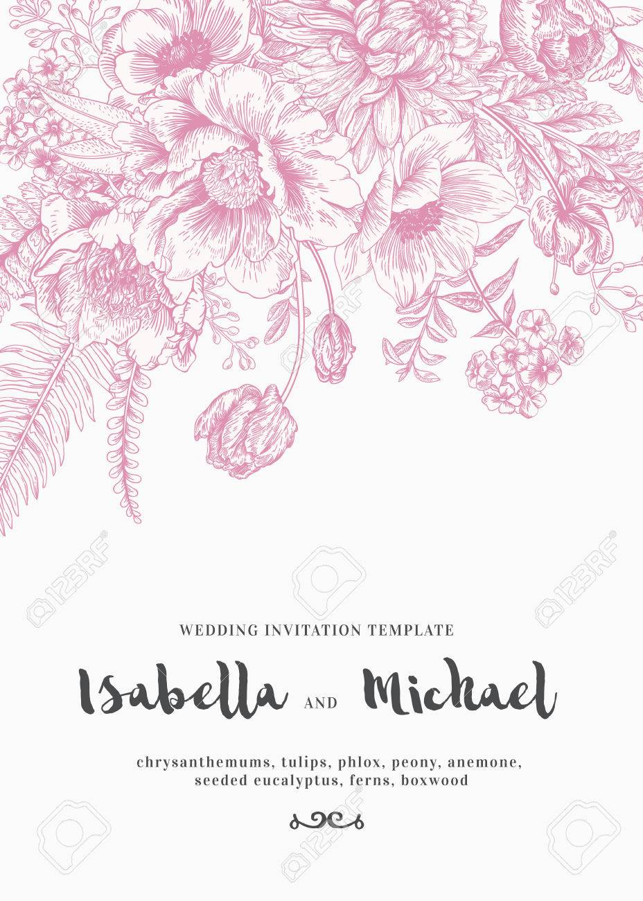 Elegant Wedding Invitations With Summer Flowers In Vintage Style ...