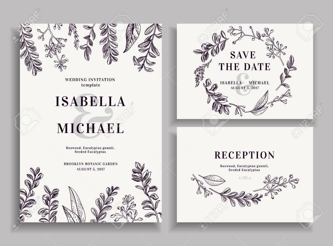 Vintage wedding set with greenery. Wedding invitation, save the date, reception card. - 63418922