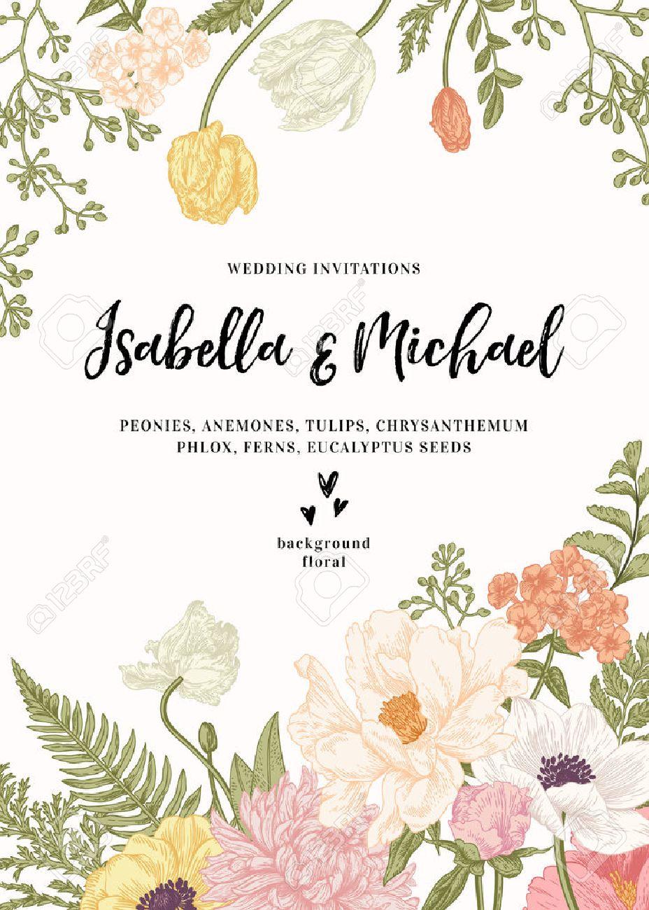 Vintage Wedding Invitation. Summer Garden Flowers. Peonies, Anemones ...