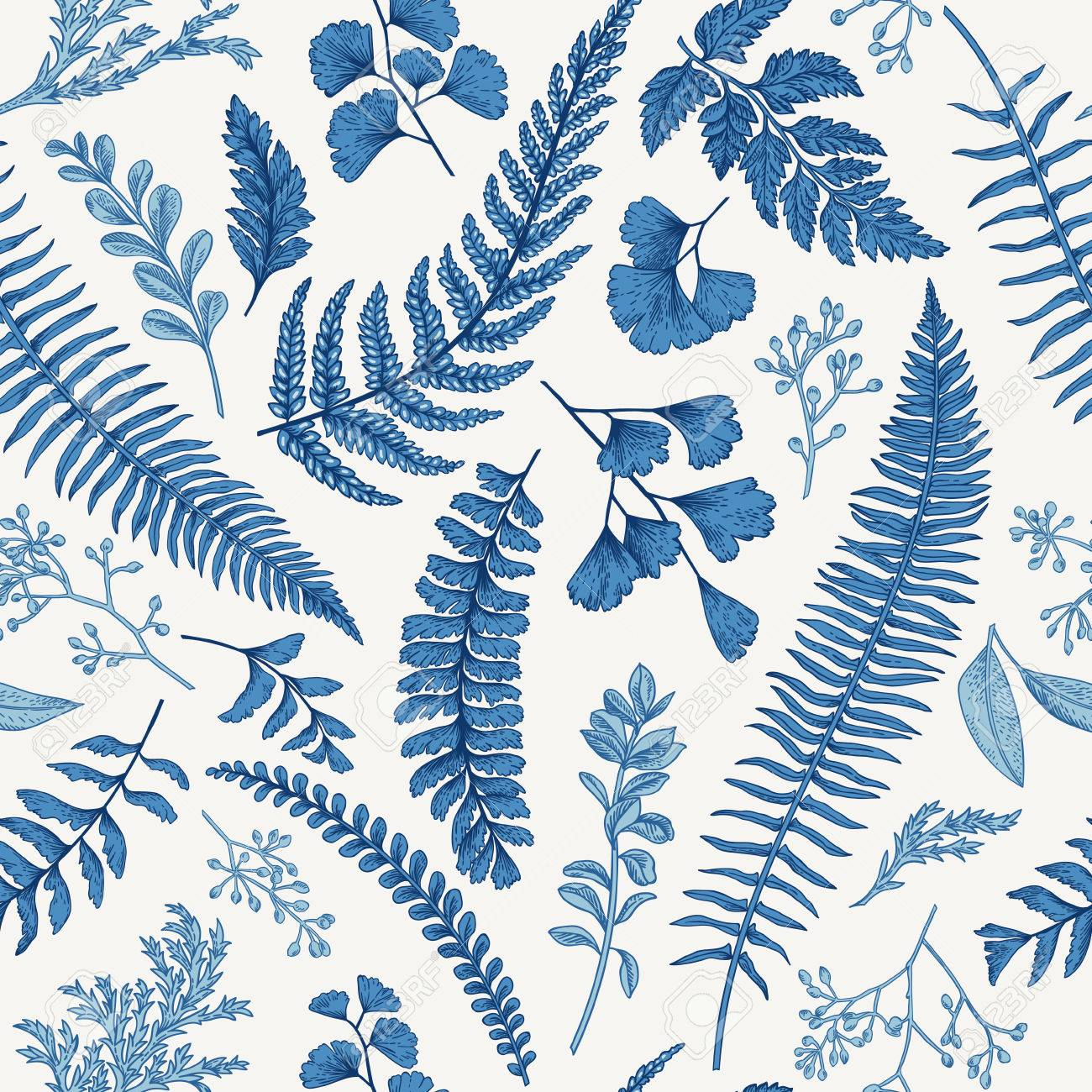 Seamless floral pattern in vintage style. Leaves and herbs in blue. Botanical illustration. Boxwood, seeded eucalyptus, fern, maidenhair. - 63419149