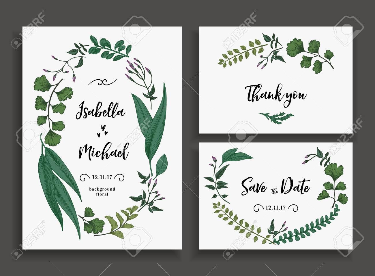 Set Hochzeitskarten Mit Blattern Krautern Und Blumen Einladung Zur