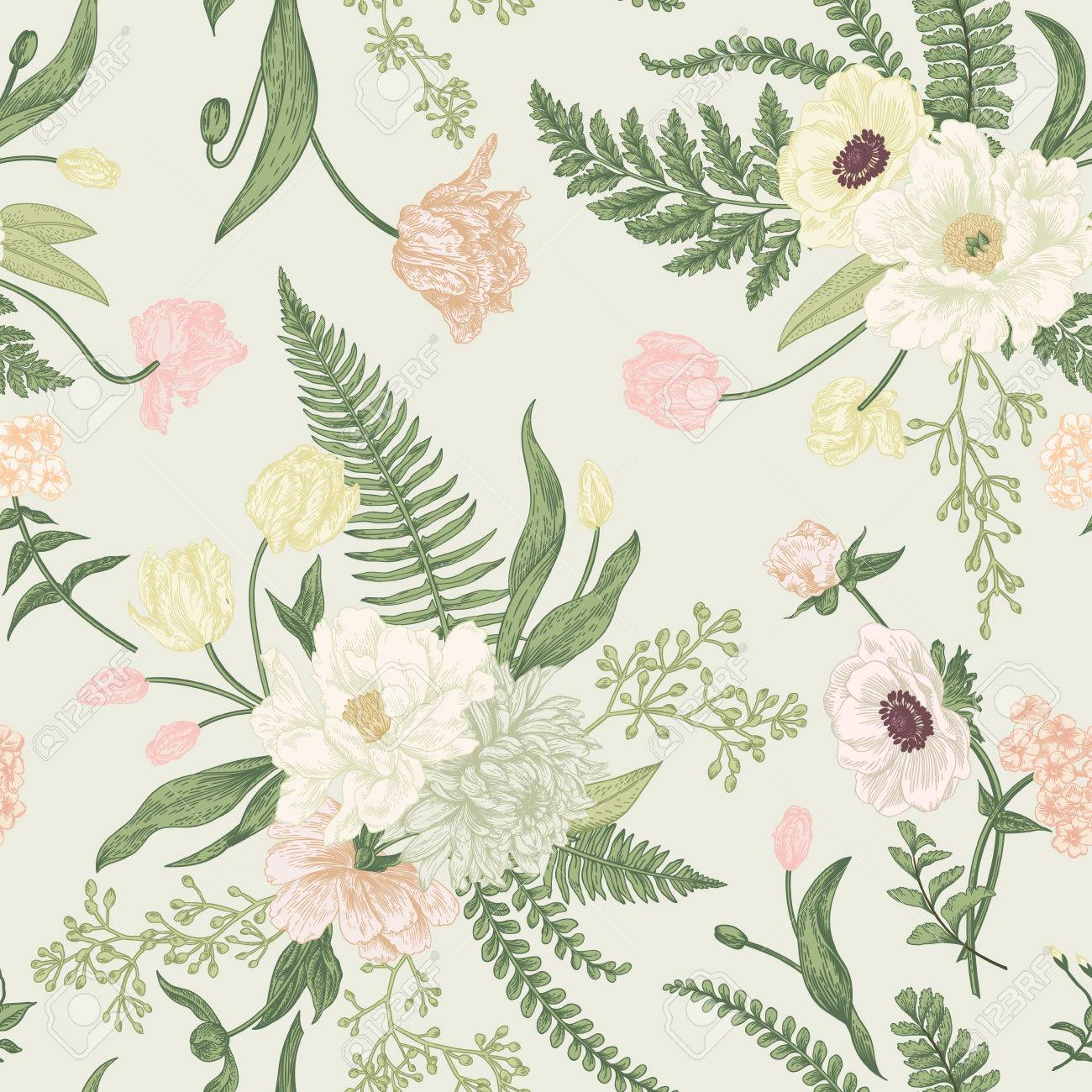Seamless floral pattern with bouquets of spring flowers. Vintage background. Peony, ferns, tulips, anemones, chrysanthemum eucalyptus seeds. Pastel colors. - 77103864