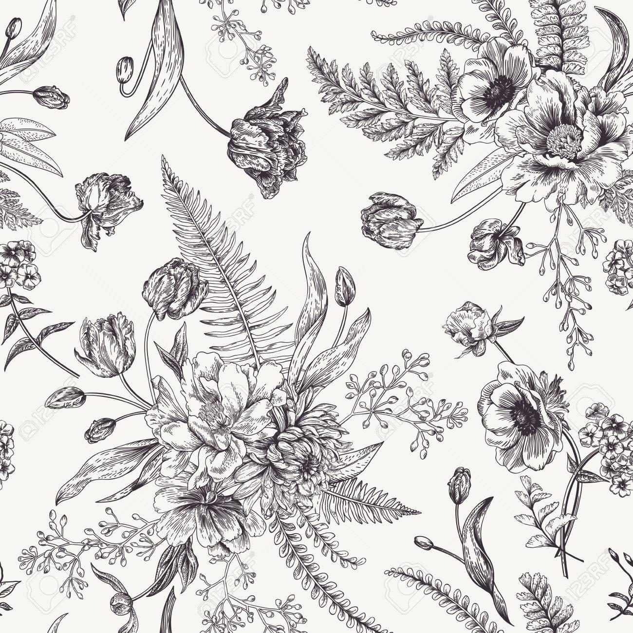 Nahtloses Blumenmuster Mit Blumenstraussen Von Fruhlingsblumen