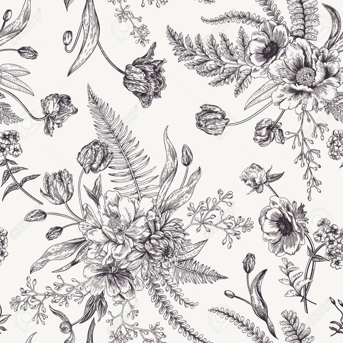 Seamless Floral Pattern With Bouquets Of Spring Flowers Black