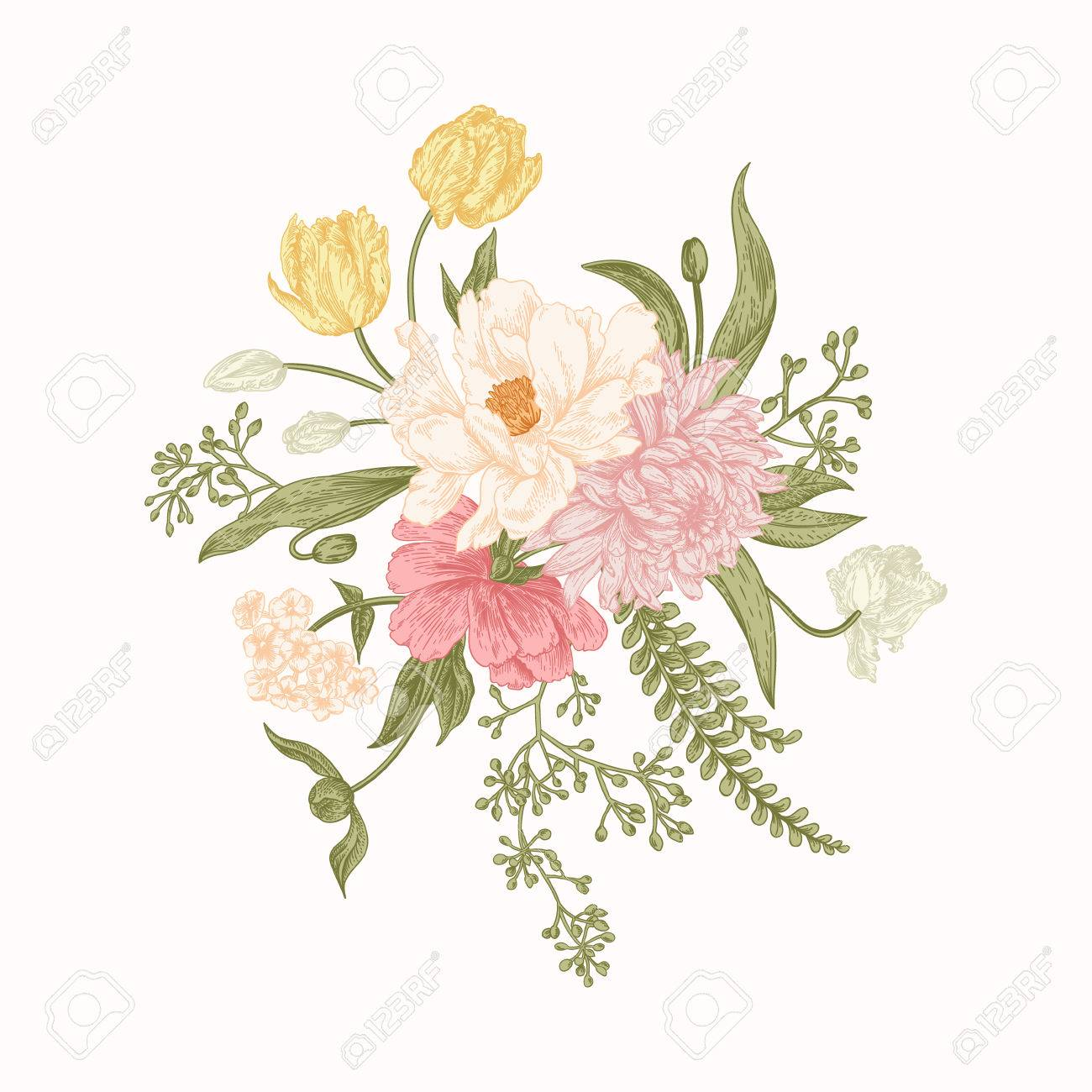 Composition With Spring Flowers Bouquet In Vintage Style Botanical