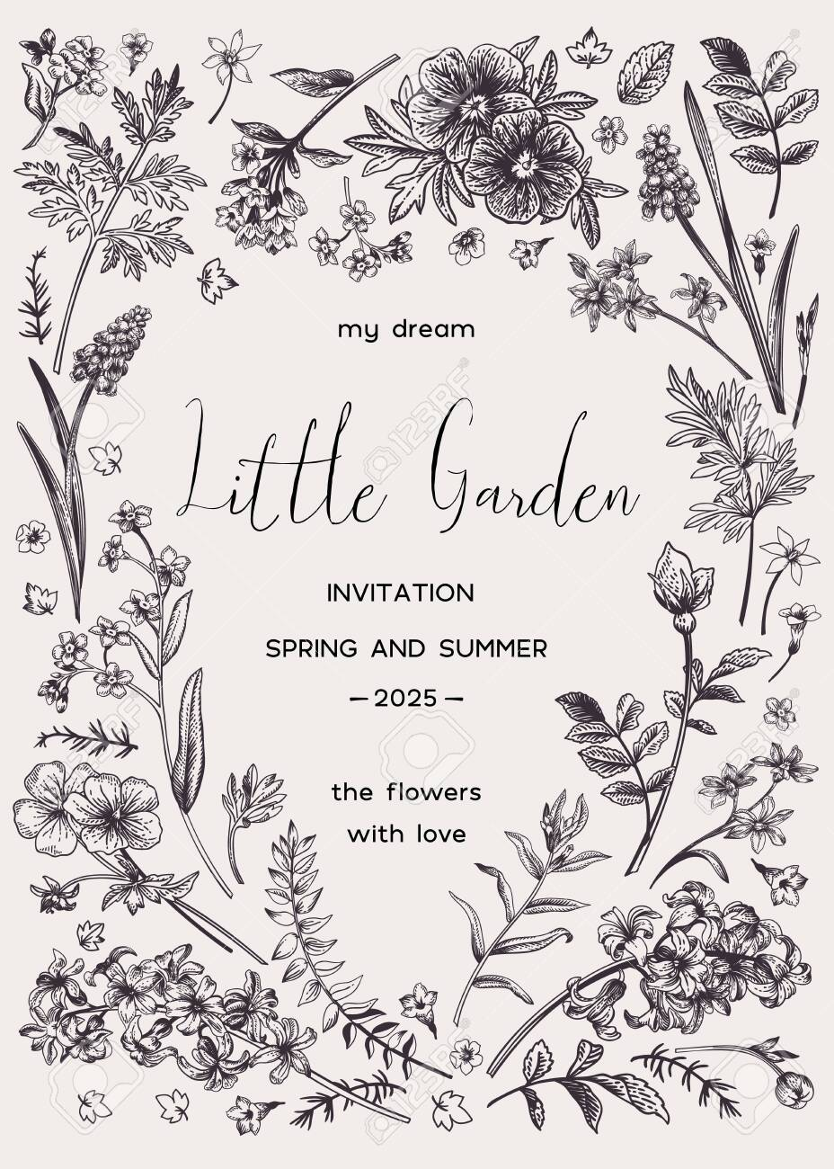 Vector floral invitation card with place for text in the shape of a heart. Little garden. Black and white. - 149008047