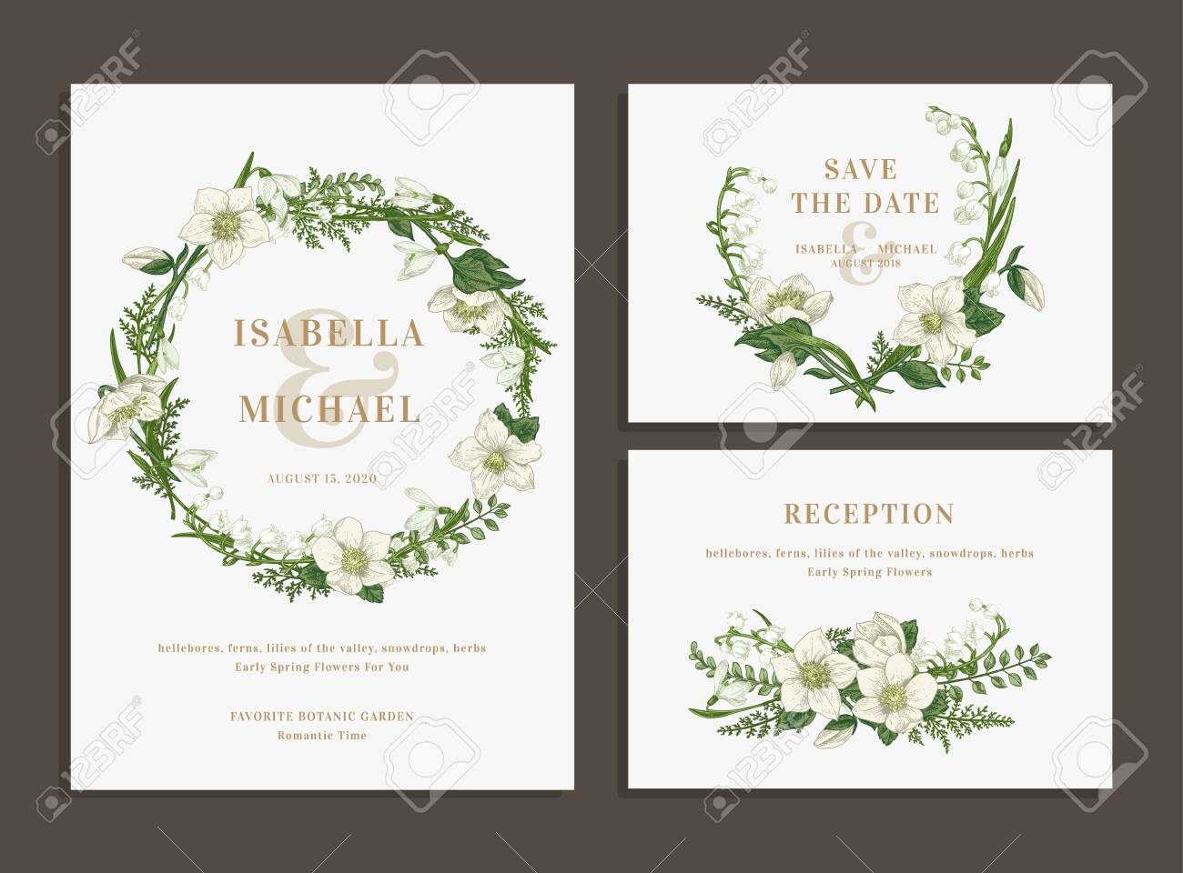 Set of wedding cards with a green wreath and a bouquet. Invitation, save the date, reception. - 149054995